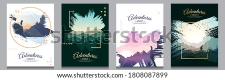 Vector brochure cards set. Travel concept of discovering, exploring and observing nature. Paint ink brush overlay. Flat design template of flyer, magazine, book cover, banner, invitation, poster.