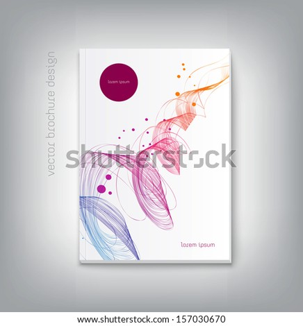 Vector brochure cover design template with abstract dynamic wave background