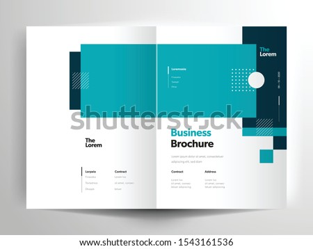 Vector brochure layout, flyer design templates, company profile, magazine, poster, annual report, book covers and booklet, with teal rectangle shape and square design element in A4 size with bleed.