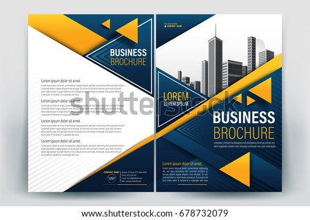 Vector Brochure layout, flyers design template, company profile, magazine, poster, annual report, book & booklet cover, with orange blue color, and cityscape vector in background elements, in size a4.
