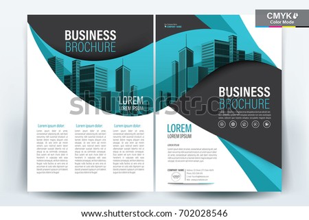 Vector Brochure layout, flyers design template, company profile, magazine, poster, annual report, book & booklet cover, with Teal Wavy, and cityscape vector in background elements, in size a4.