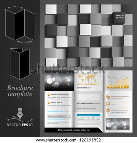 Vector brochure template design with black and white cubes. EPS 10