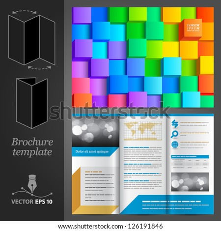 Vector brochure template design with color cubes. EPS 10