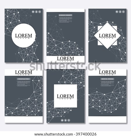 Vector brochure template, flyer, cover magazine in A4 size. Structure molecule of DNA and neurons. Abstract background. Medicine, science and technology #397400026