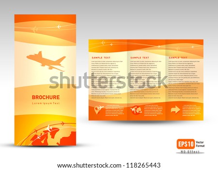 Vector brochure tri-fold layout design template airplane takeoff flight tickets air fly cloud sky orange color travel background