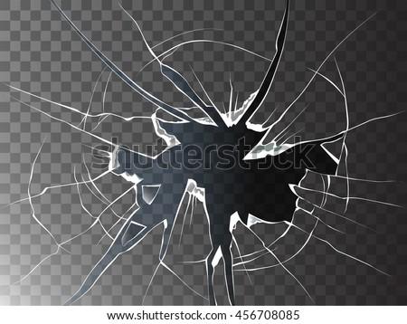 Vector broken glass. Isolated cracked glass effect.