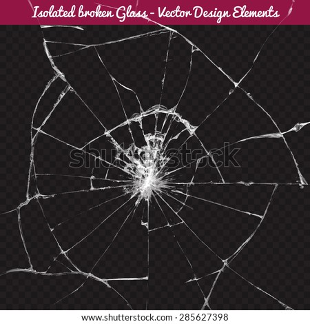 Vector broken glass. Isolated realistic cracked glass effect, concept element. To use Complete Glass texture release clipping mask.