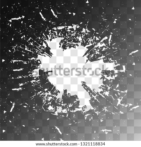 Vector broken glass on isolated background