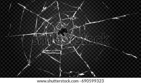 Vector broken transparent glass with cracks and hole in it.