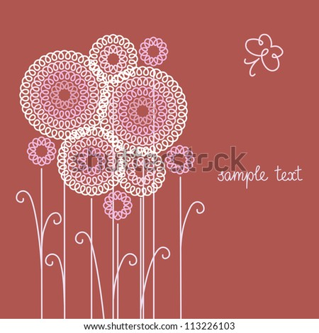 Vector brown background with stylized flowers, leaves and butterfly of doodles. Invitation and greeting romantic card with text box. Abstract summery and autumn floral illustration for print and web