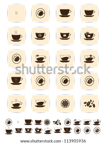 Vector brown coffee icons set. Cup and cafe icon