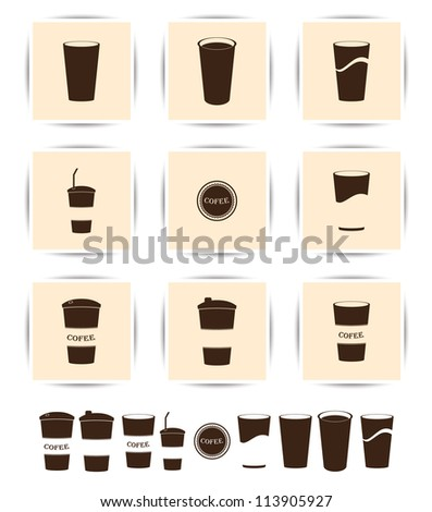 Vector brown coffee icons set. Paper Cup and cafe icon