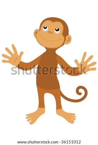 Vector brown happy monkey with smile on face
