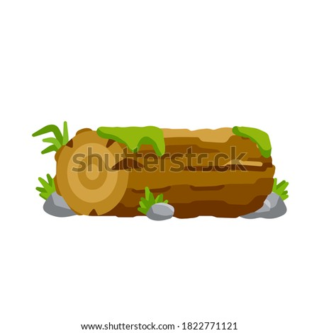 vector brown log with green