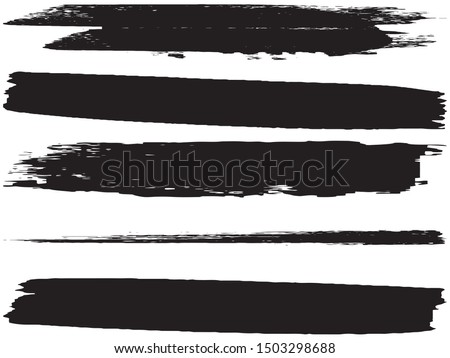 Vector brush set. Black lines and spots on white background