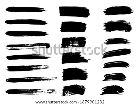 Vector Brush. Set of Black Ink Strokes. Grunge Dirty Stylish Elements. Vector Paintbrush Ink. Modern Textured Shapes. Freehand Artwork. Distressed Banner. Geometric Shapes. Black Brush Elements.
