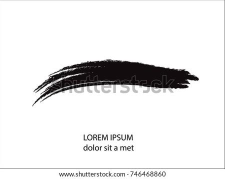 Vector Brush Stroke. Curved Dry Brush Stroke. Grunge Distress Textured Design Element. Black Painted Brush Stroke . Used As Banner, Template, Logo