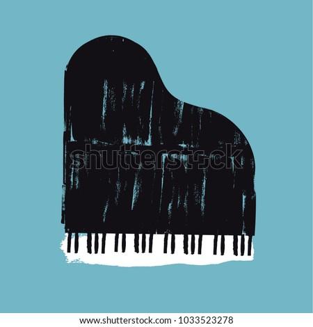 vector brush stroked piano