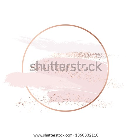 Vector brush strokes in gentle skin tones and rose gold colors graphics. Pastel hand-drawn glitter shapes, luxury design