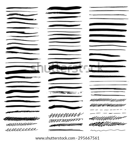 Vector brush strokes set. Large set of different sketchy, markers and brush strokes