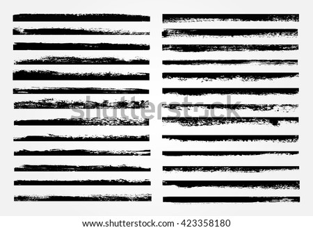 vector brush strokes.set of...