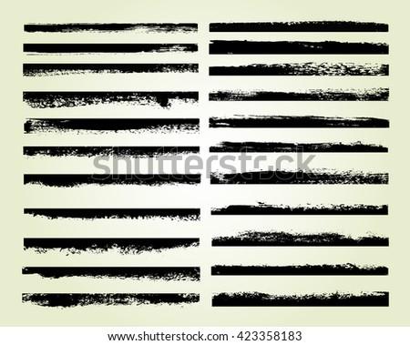 Vector brush strokes.Set of grunge edges.Grunge borders. #423358183