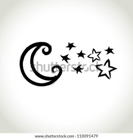 vector brushwork symbol  moon