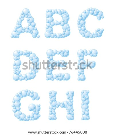 Vector bubble foam font, from A to I
