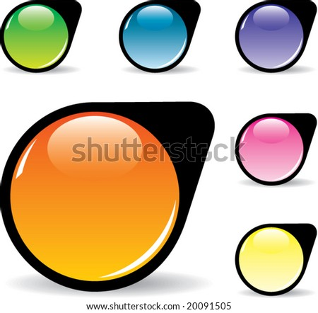 Vector bubble icons in six colors