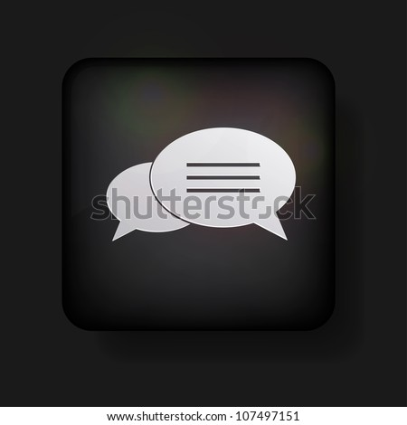 Vector bubble speech icon on black. Eps 10
