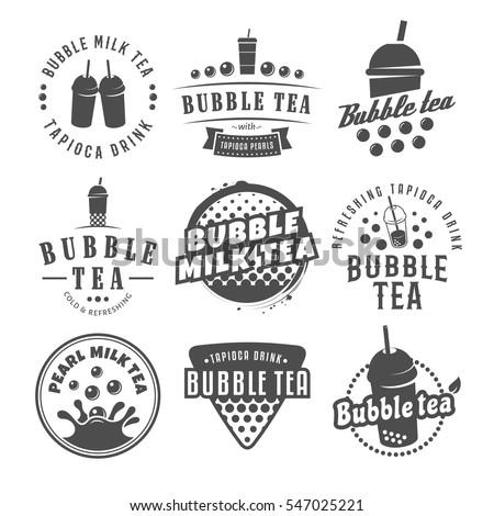 Vector bubble tea logos. Set of pearl tea labels. Popular asian drink badges. - Shutterstock ID 547025221
