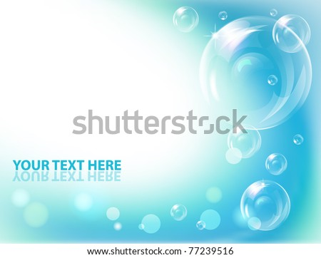Vector bubbles against blue  wave background. - stock vector
