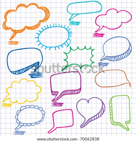 Vector bubbles for speech. Seamless doodle background.
