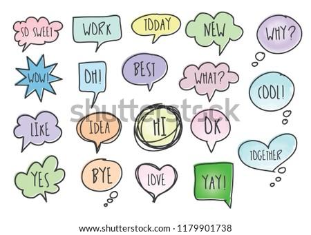 Vector bubbles speech doodle set. hand-drawn. #1179901738