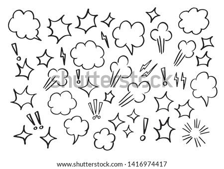 Vector bubbles speech set. hand-drawn.  BOOM,WOW.