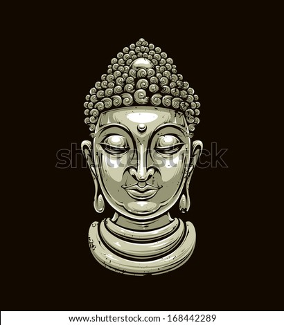 Vector buddha head isolated on dark Grunge style buddha illustration Vector EPS 10 illustration