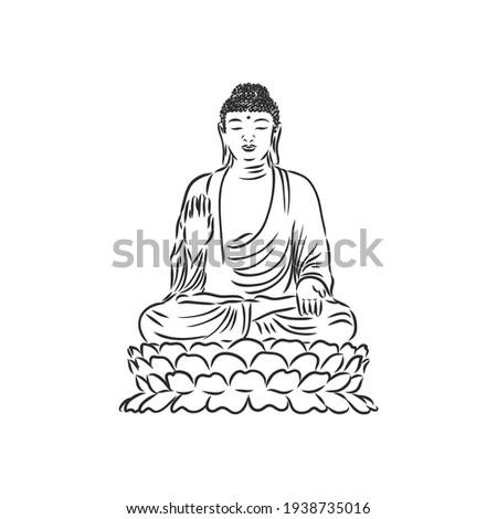 vector buddha in line hand