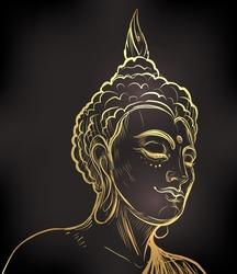 Vector Buddha over ornate mandala round pattern. Budda vector illustration. Vintage decorative esoteric composition. Indian, Buddhism, Spiritual  motifs.  tattoo, yoga, spirituality.