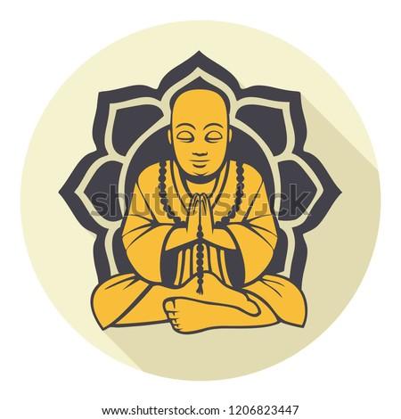Vector Buddhism icon meditating Buddha. Golden Buddha sitting on a lotus background. Illustration in flat style.