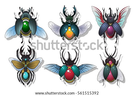 Vector Bugs Set Gems Beetles Stickers Collection