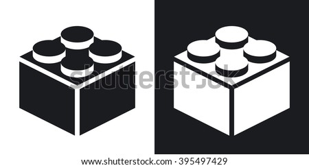 Vector building block icon. Two-tone version on black and white background