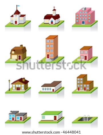 Vector Building Icon -- 3D Illustration