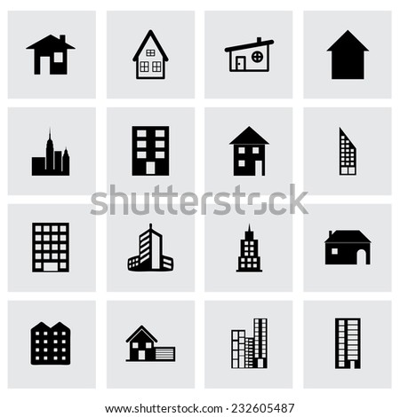 Vector building icon set on grey background