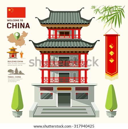 vector building of china travel