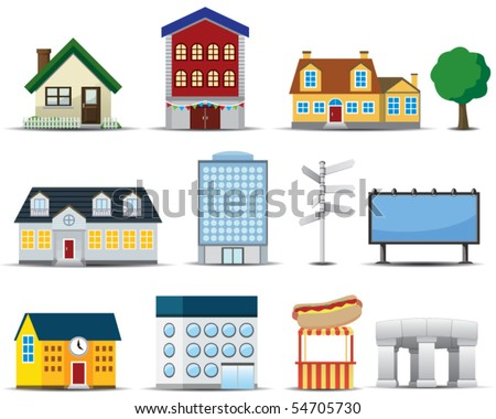 Vector Buildings Icon - stock vector