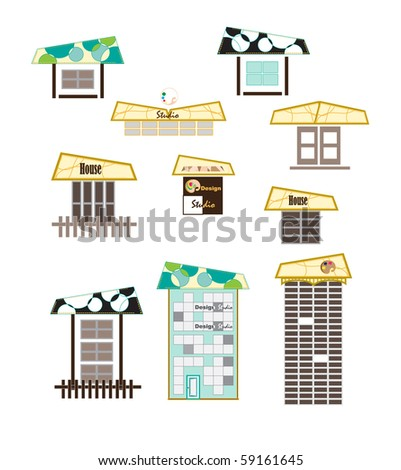 Vector Buildings Icon. House vector Icons for Web. Construction or Real Estate concept. Abstract color element set of corporate templates. Just place your own name.