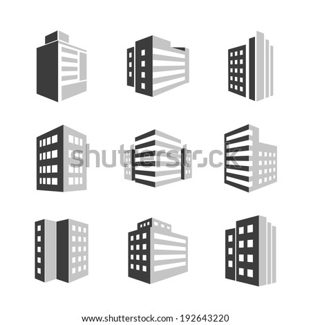 Vector Buildings icons 3d isolated on white background