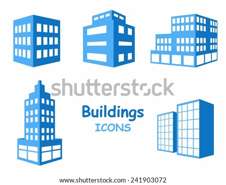 Vector buildings icons. Set of buildings in blue tone