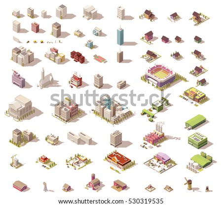 vector buildings set isometric