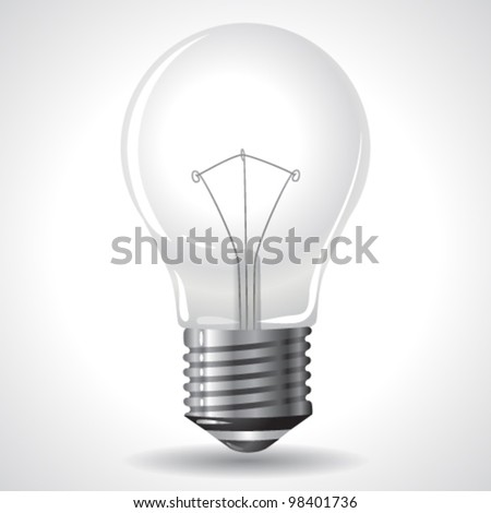 Vector Bulb Isolated on Grey Gradient Background. Vector.